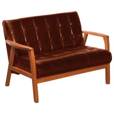 文創集 法格西 時尚皮革實木二人座沙發椅(二色可選)-115x80x80cm免組