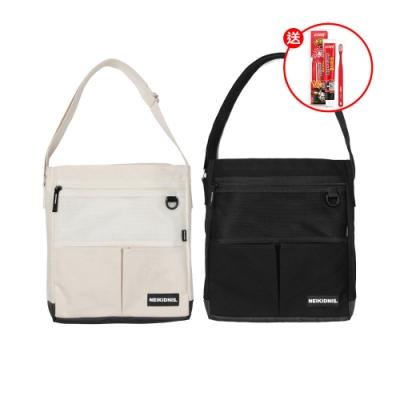 韓國NEIKIDNIS CANVAS多口袋側背包(顏色任選)出貨送 韓國2080 辣雞麵聯名款牙膏100g*1