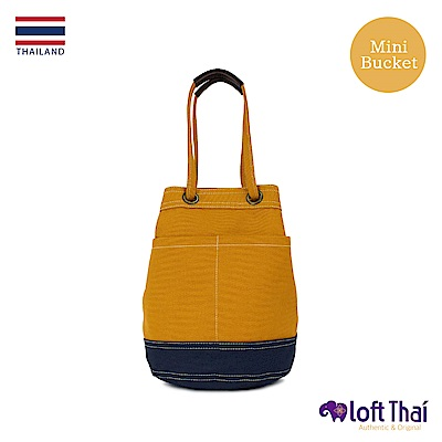 Loft THAI | 泰.兩用帆布水桶包(小) | Mustard/navy