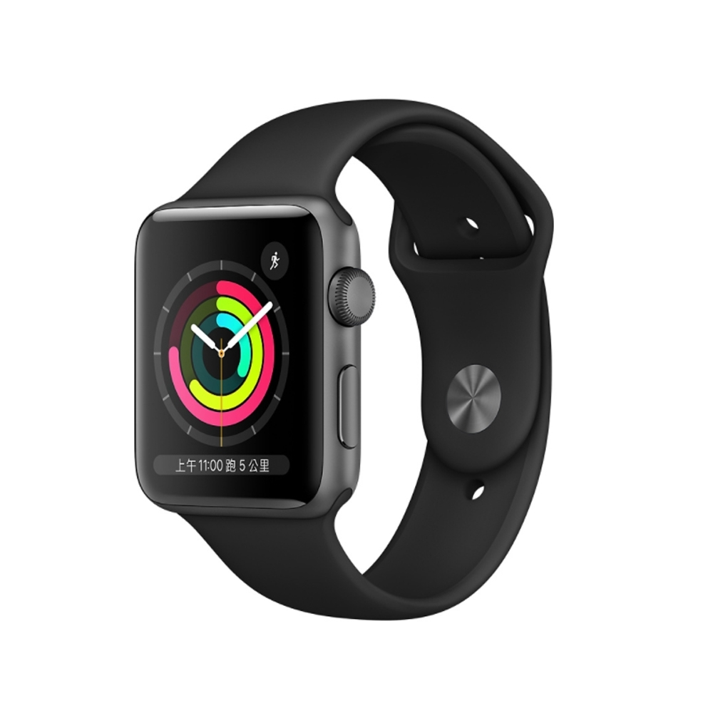 Apple Watch Series 3 GPS 版 42mm 太空灰鋁金屬錶殼配黑色運動錶帶