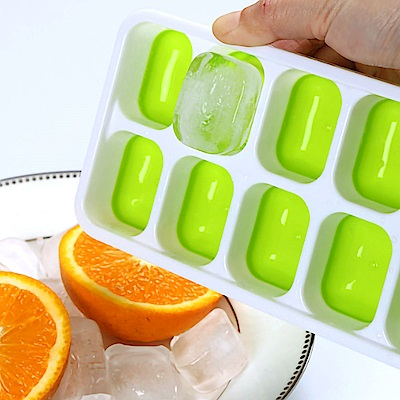 Ezlife 14格寶寶輔食矽膠帶蓋冰盒4入組