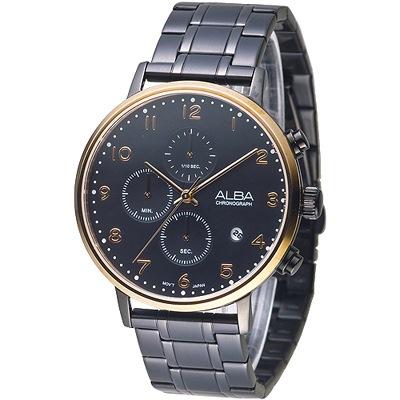 ALBA 雅緻時尚風三眼計時男錶-IP黑/玫瑰金框(AM3350X1)/42mm