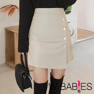 正韓 高腰側排扣不規則皮質短裙 (共二色)-W BABIES