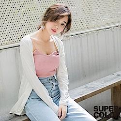 SUPER COLOR 舒適自在純色開襟百搭薄外套-(純潔白)