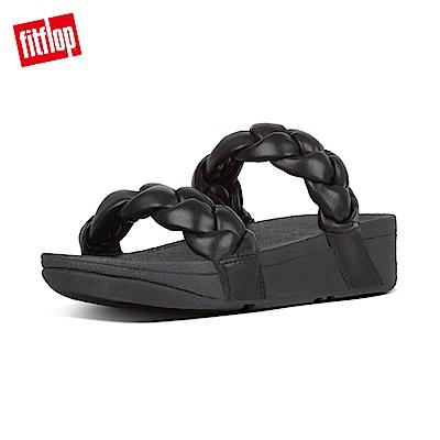 FitFlop PLATT METALLIC LEATHER SLIDES-黑色