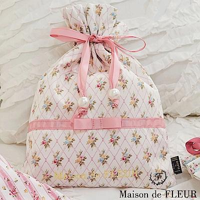 Maison de FLEUR 可愛碎花抽繩蝴蝶結綁帶包包