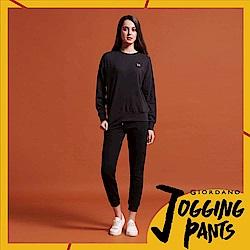 GIORDANO 女裝素色抽繩運動休閒束口褲-01 標誌黑
