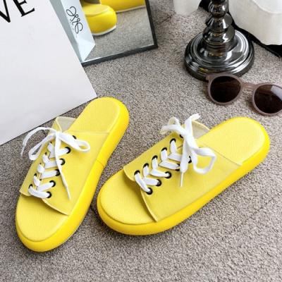 KEITH-WILL時尚鞋館 經典時尚海島假期綁帶厚底涼拖鞋-黃
