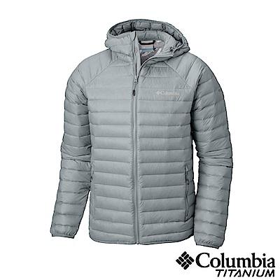 Columbia哥倫比亞 男款-鈦 Omni-heat 3D保暖連帽羽絨外套-灰色