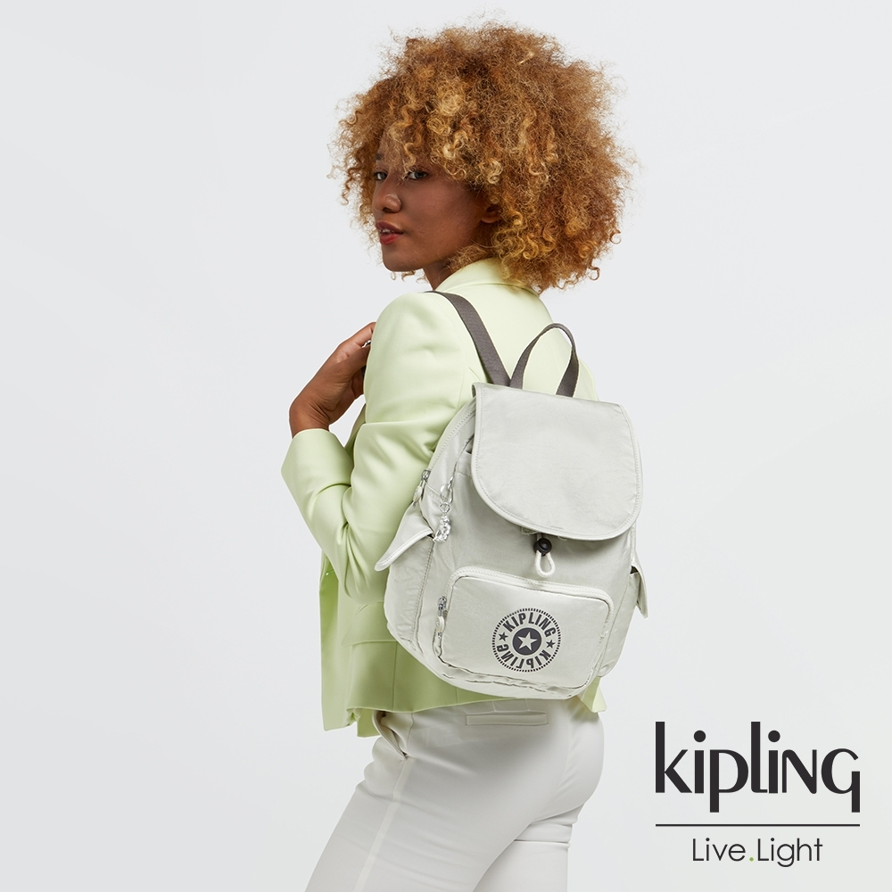 Kipling 質感活躍銀拉鍊掀蓋後背包-CITY PACK S