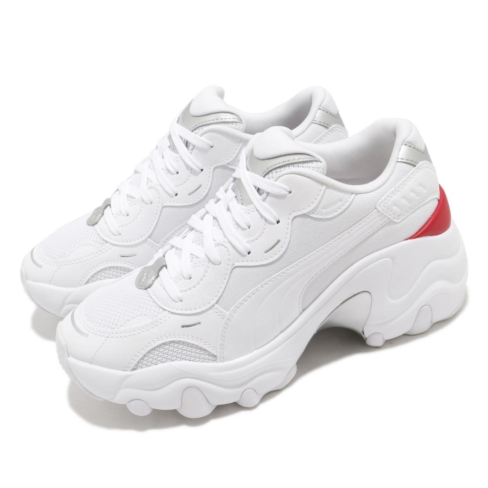 Puma 休閒鞋 Pulsar Wedge 穿搭 女鞋 厚底 舒適 時尚潮流 明星款 皮革 簡約 白 紅 37393901