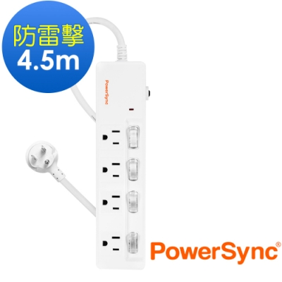 PowerSync 群加 3孔4開4插 防雷雙色延長線4.5米(TPS344GN9045)