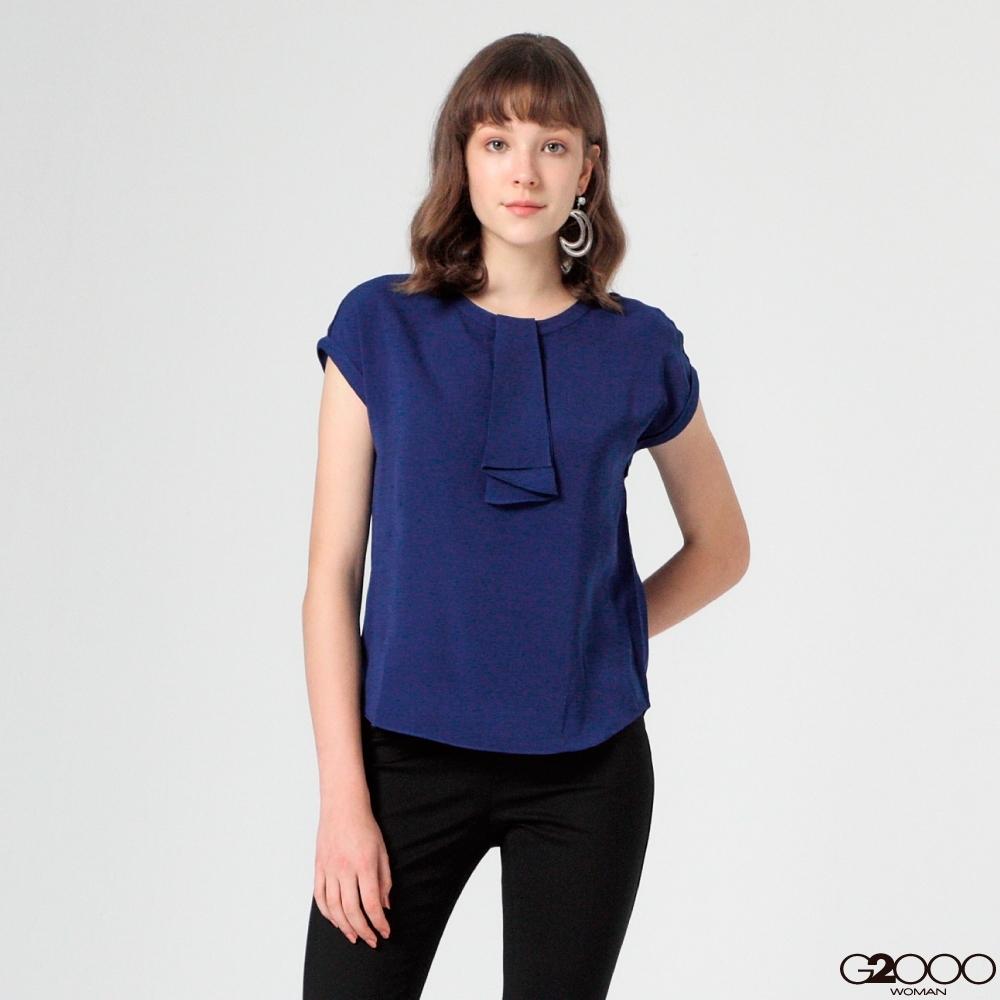 G2000素面短袖休閒上衣-藍色