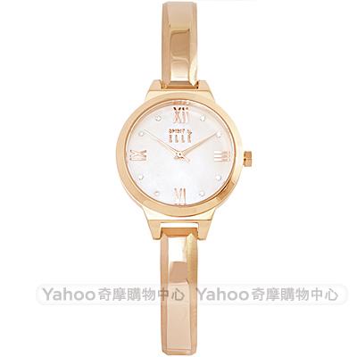 ELLE 閃耀晶鑽時尚手錶-珍珠貝X玫瑰金框/28mm