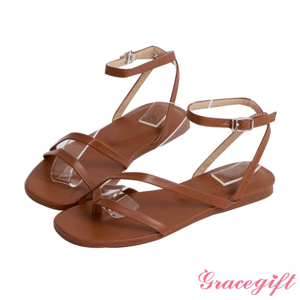 Grace gift-不對稱細帶平底涼鞋 深棕