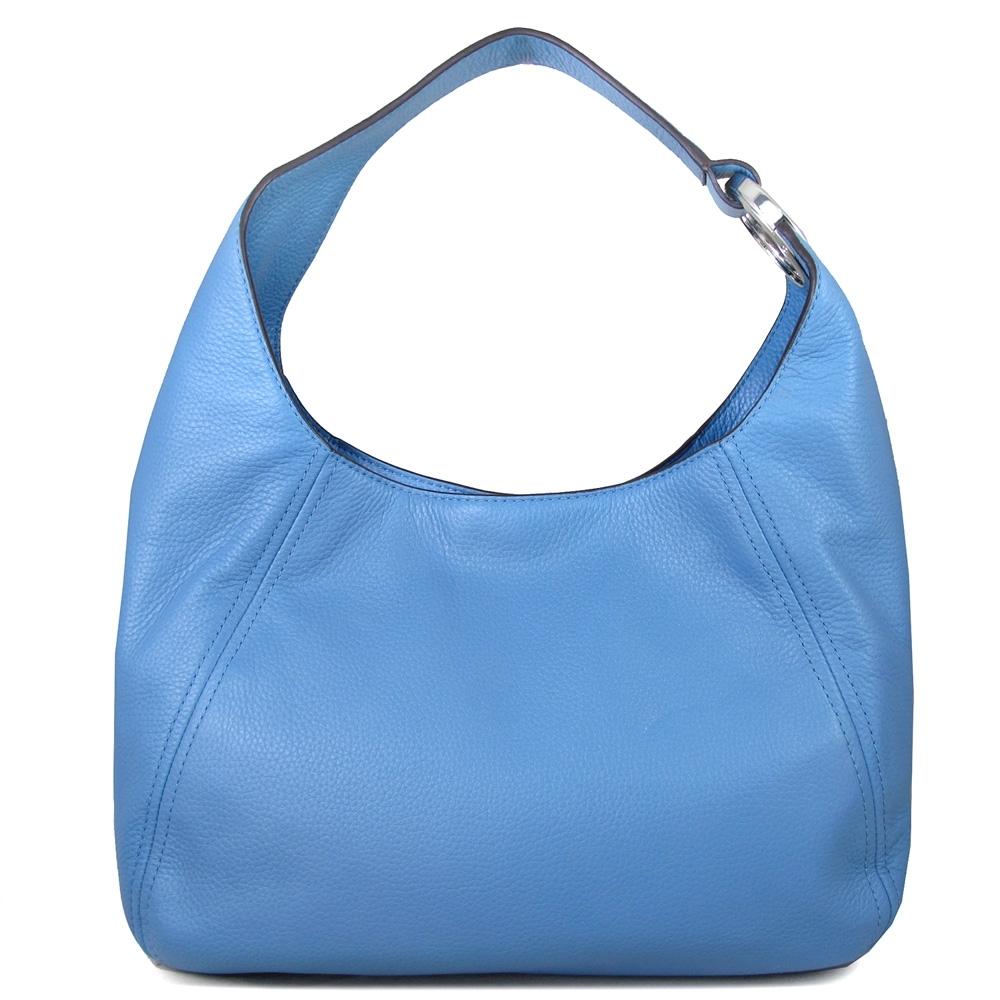 MICHAEL KORS Fulton銀字大圓標肩帶Logo荔枝紋全皮革Hobo肩背包(法國藍)