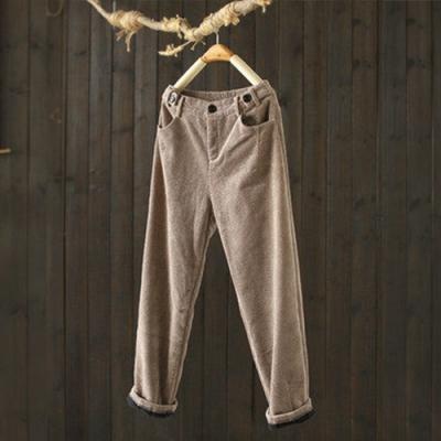 霧面質感棉質燈芯絨雙腰休閒寬鬆顯瘦加絨長褲-設計所在