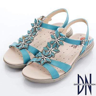 DN 輕恬休閒 MIT牛皮立體手工花朵涼鞋-藍
