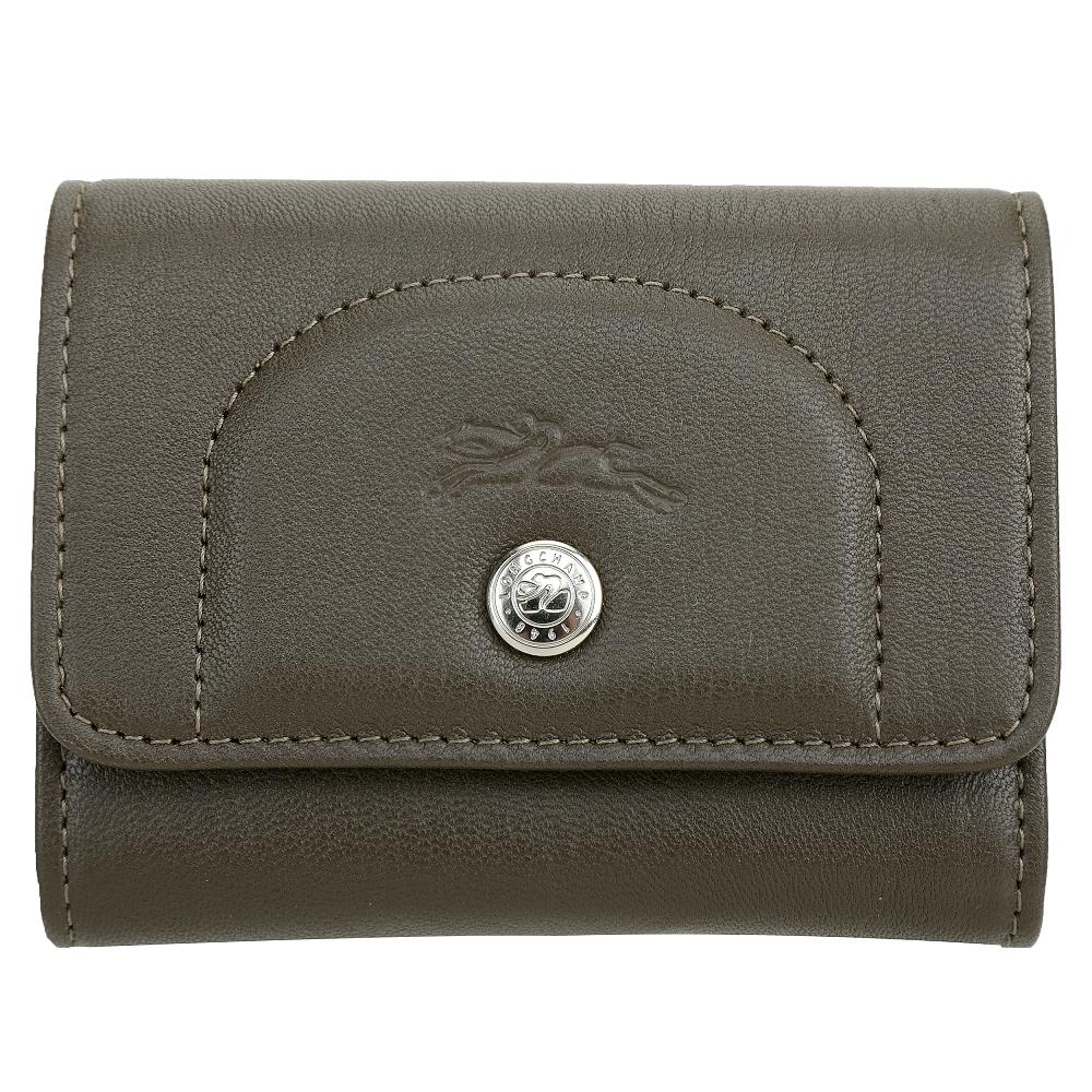 LONGCHAMP Le Pliage Cuir 羊皮釦式錢包 卡片夾(墨綠色)