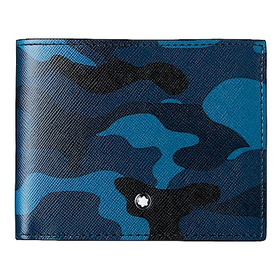 萬寶龍Sartorial 6卡短夾-迷彩藍