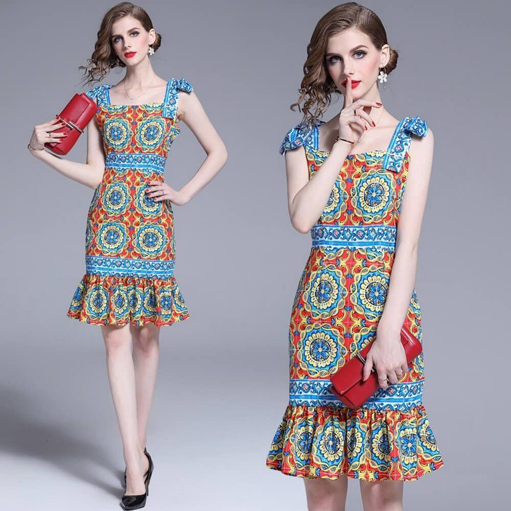 俏麗佳人蝶結肩帶異國色彩圖紋魚尾裙洋裝M-2XL-M2M