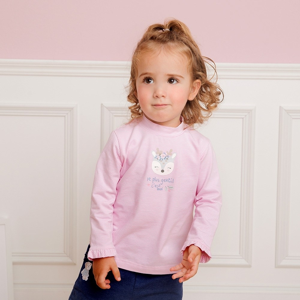 奇哥 清新寶貝高領衫-粉(2-5歲)