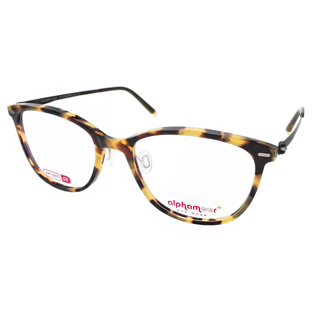 Alphameer光學眼鏡 韓國塑鋼系列/琥珀-黑#AM3803 C05