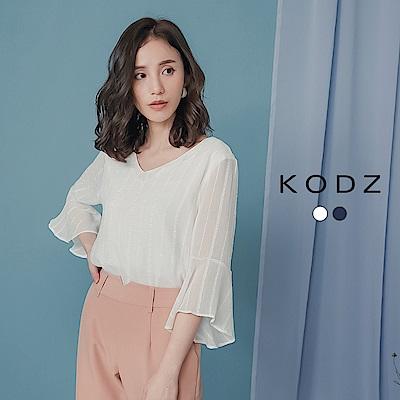 東京著衣-KODZ 知性典雅V領條紋荷葉寬袖上衣-S.M.L-(共二色)