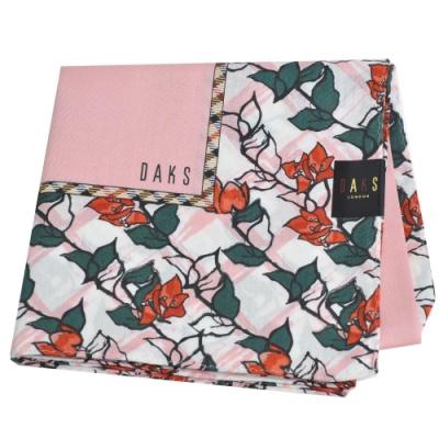 DAKS 經典格紋品牌字母LOGO花朵圖騰大帕領巾(粉紅系)