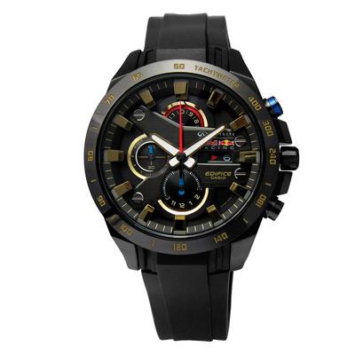 CASIO EDIFICE Red Bull 聯名款三環橡膠腕錶-鍍黑/45mm