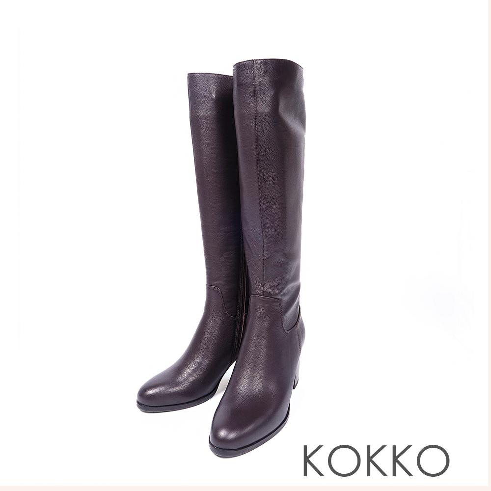 KOKKO絕對完美牛皮直筒高跟長靴濃情咖