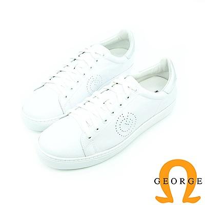 【GEORGE 喬治】休憩系列-經典綁帶平底休閒鞋_白色