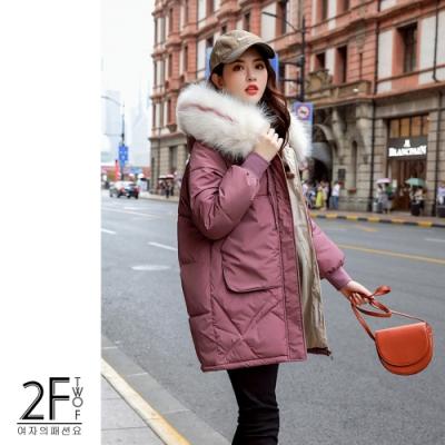2F韓衣-韓系大毛領抽繩造型防風鋪棉大衣-秒