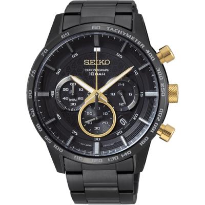 SEIKO精工 CS 50 周年紀念款計時手錶(SSB363P1)-鍍黑/46mm
