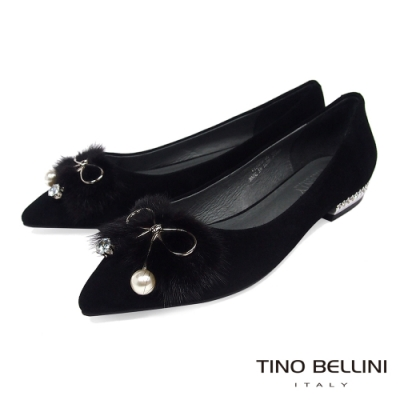 Tino Bellini華麗毛海飾釦尖頭娃娃鞋_黑