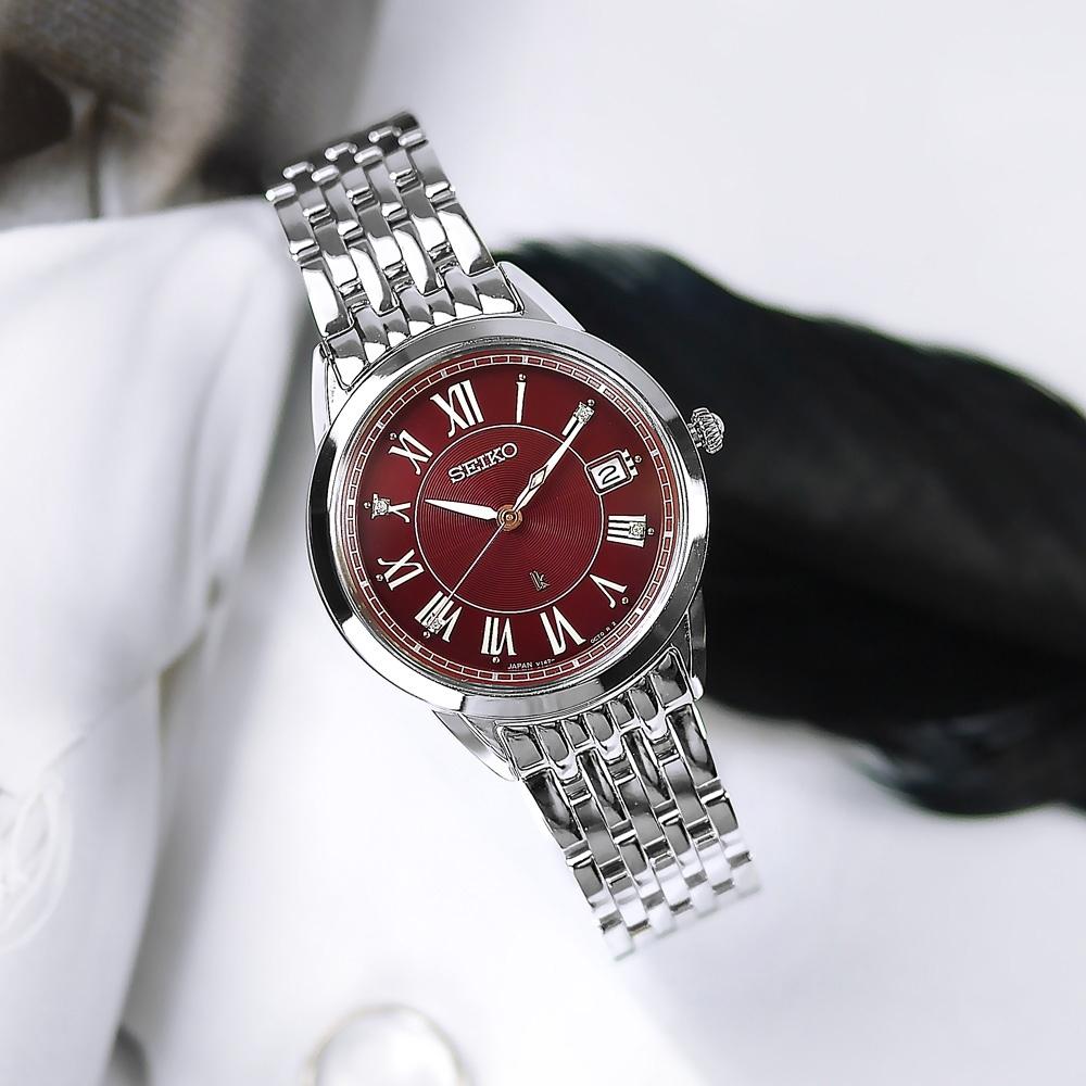 SEIKO 精工 LUKIA 太陽能 鑽石 日期 防水100米 不鏽鋼手錶-紅色/34mm