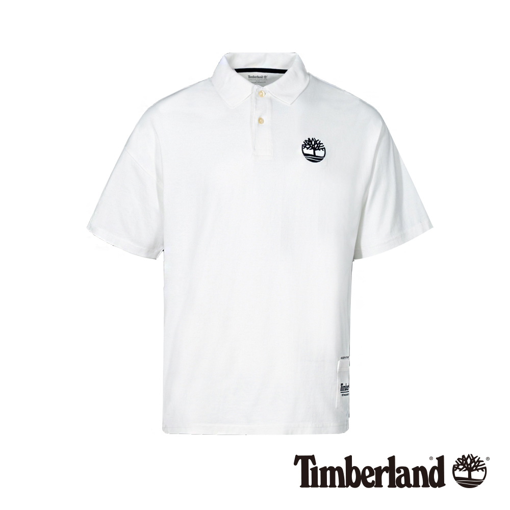 Timberland 男款白色復古防紫外線抗菌寬鬆短袖POLO衫|A1XFW