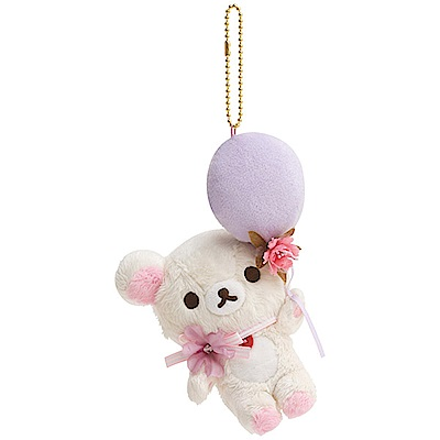 懶妹蜂蜜小熊的粉彩花園系列毛絨公仔吊飾。懶妹San-X