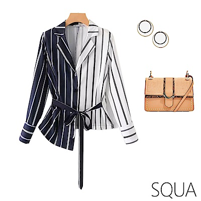 SQUA 不對稱拼色繫帶條紋襯衫