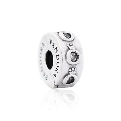 Pandora 潘朵拉 閃耀皇冠標誌鑲鋯 純銀固定扣