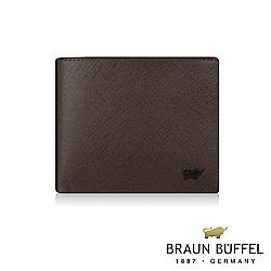 BRAUN BUFFEL - 洛菲諾P系列12卡中間翻透明窗皮夾 - 咖黑
