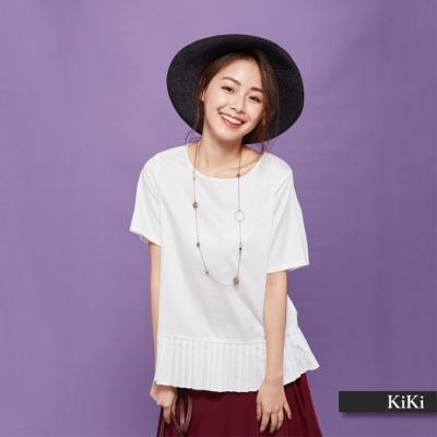 【KiKi】優雅素面百摺長袖-襯衫(二色)