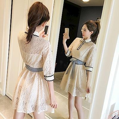 DABI 韓版蕾絲拼接高腰顯瘦配腰帶長袖洋裝