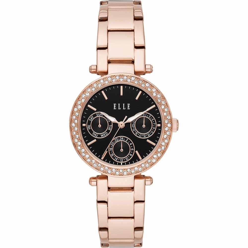 ELLE Marais 系列晶鑽日曆時尚女錶-黑x玫塊金x33mm ELL23006