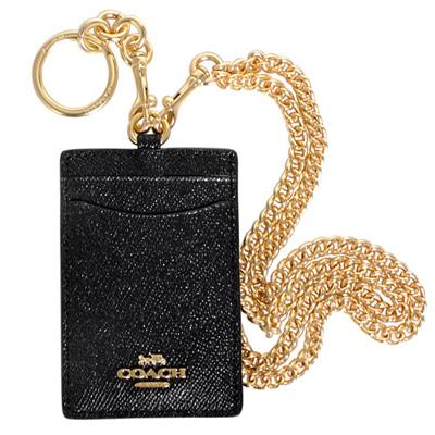 COACH黑色珠光防刮全皮附鎖圈金屬鍊證件票卡夾