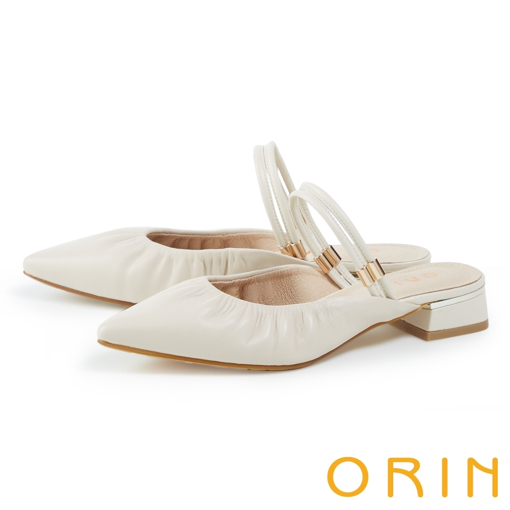 ORIN 真皮壓皺尖頭低跟兩穿 女 穆勒鞋 米色