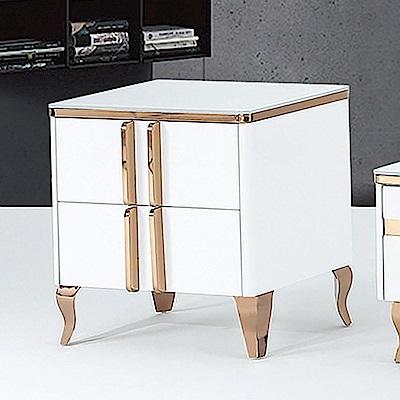 Boden-馬菲2尺白色玻璃二抽小茶几/收納櫃-60x40x58cm