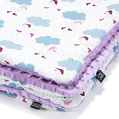 La Millou 暖膚豆豆毯嬰兒毯寶寶毯-雨點達達鴨(粉紫馬卡龍)