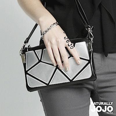 【NATURALLY JOJO】拼色切割紋手拿包(黑)