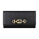 GUCCI Zumi系列金屬LOGO牛皮12卡扣式長夾(黑)